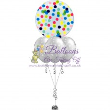 Confetti Bubble & 3 Latex Balloon Arrangement