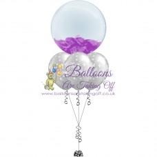 Feather Bubble & 3 Latex Balloon Arrangement