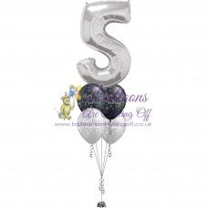 Single Number & 4 Latex Balloon Arrangement