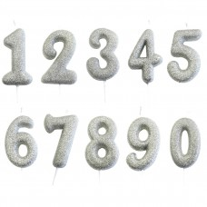 Silver Single Number Candles