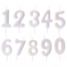 White Single Number Candles