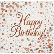 Rose Gold Fizz Napkins Birthday