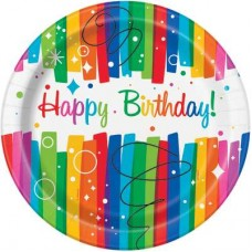 Rainbow Ribbons Plates Birthday